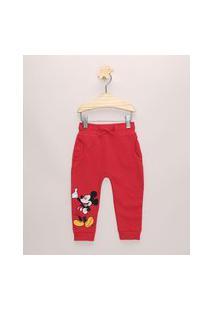 Calça De Moletom Infantil Mickey Vermelha