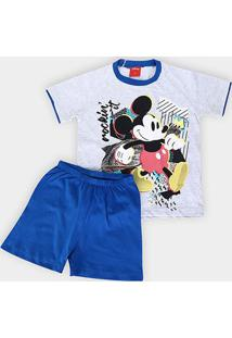 Pijama Infantil Evanilda Mickey Masculino - Masculino-Cinza