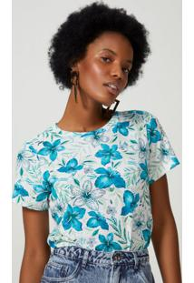 Amaro Feminino T-Shirt Ampla Estampada, Fresh Flowers