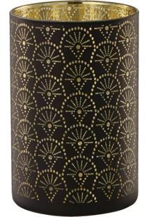 Porta Velas Em Vidro Bangui 6242 Preto/Dourado Mart