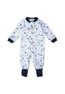 Pijama Macacão Babié Coelho Infantil Masculino Branco
