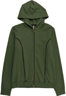 Jaqueta Feminina Em Moletom Peluciado Verde