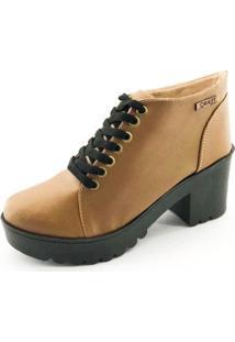 Bota Quality Shoes Tratorada Feminina - Feminino-Caramelo+Preto