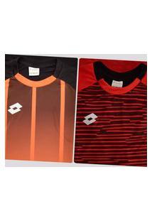 Kit De 2 Camisas Lotto Laranja E Vermelha