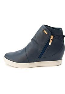 Sneaker Orcade Em Couro Azul Marinho