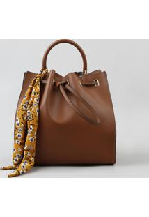 Bolsa Saco Feminina Transversal Com Lenço Estampado Floral Caramelo - Único