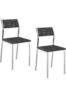Kit Com 2 Cadeiras Sofia Cromada Tecido Fantasia Preto - Carraro