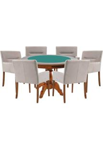 Mesa De Jogos Carteado Redonda Montreal Tampo Reversível Amêndoa Com 6 Cadeiras Vicenza Nude - Gran Belo