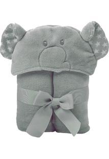 Manta Microfibra Com Capuz Elefante Cinza Baby Joy