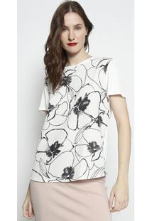 Camiseta Texturizada Com Tag- Off White & Preta- Forforum
