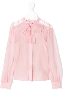 Dolce & Gabbana Kids Blusa De Seda Com Laço - Rosa