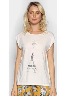 Camiseta Triton Paris Feminina - Feminino-Off White
