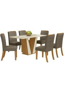 Sala De Jantar Mesa Retangular Garda 160Cm Com 6 Cadeiras Tauá Nature/
