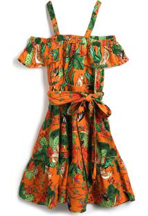 Vestido Fruteria Estampa Laranja - Tricae