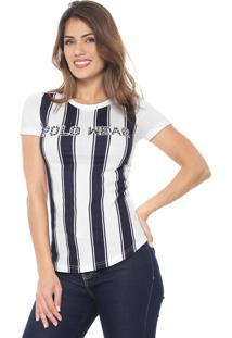 Camiseta Polo Wear Básica Branca/Azul-Marinho