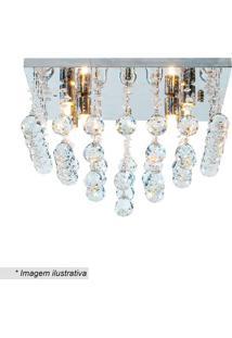 Plafon Quadrado Com Pingentes - Cristal - 28X40X40Cmhevvy