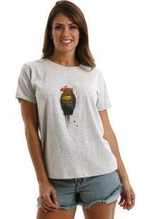 Camiseta Equivoco Asia Feminina - Feminino-Cinza