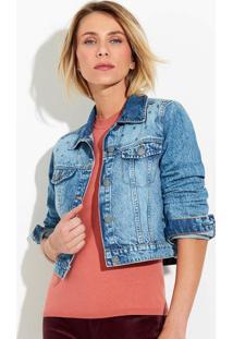 Jaqueta Jeans Feminina Cropped Com Aplicação