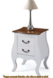 Mesa De Cabeceira 2 Gavetas Elegance Branco Com Imbuia 50Cm (Larg) ) - 58861 - Sun House