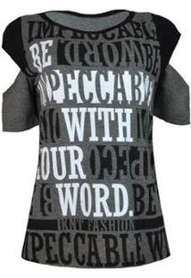 Camiseta Knt T-Shirt Recorte Ombro - Feminino-Cinza
