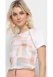 Camiseta Acostamento Estampada Feminina - Feminino-Rosa