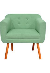 Poltrona Decorativa Julia Linho Verde Menta A06 - D'Rossi