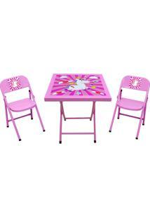 Conjunto Fantasia Mesa C/2 Cadeiras Rosa/Uni Açomix