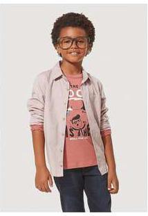 Camisa Infantil Menino Oxford Com Bolso Hering Kids Rosa