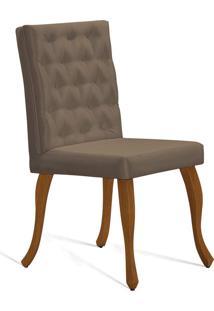 Cadeira Juliete T1102 Cetim Dourado C/Capitone Daf Bege