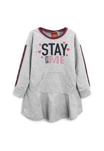 Vestido Kyly Infantil Lettering Cinza