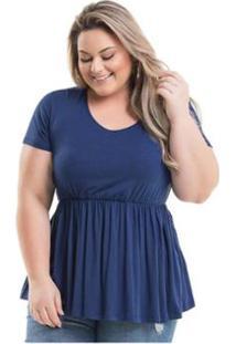 Bata Viscolycra Miss Masy Plus Size - Feminino-Azul