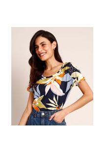 Camiseta De Algodão Flamê Estampada Floral Manga Curta Decote Redondo Azul Marinho