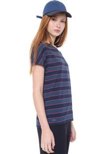 Camiseta Lacoste Listrada Azul/Rosa