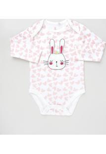 Body Infantil Coelha Estampado De Corações Manga Longa Branco