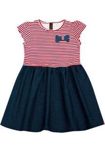 Vestido Infantil - Manga Curta - Listra Com Lacinho - Algodão E Elastano - Vermelho - Duduka - 1