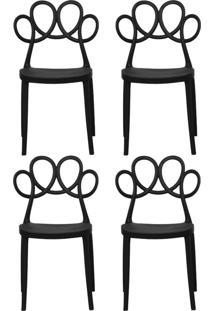 Kit 04 Cadeiras Decorativas Para Cozinha Laço Preto - Gran Belo
