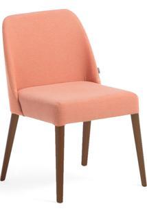 Cadeira Rosini - Base Amãªndoa E Tecido Laranja