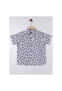 Camisa Estampada Manga Curta Juvenil Para Menino - Branco/Azul Marinho