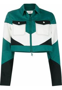 Kirin Jaqueta Cropped Color Block - Verde
