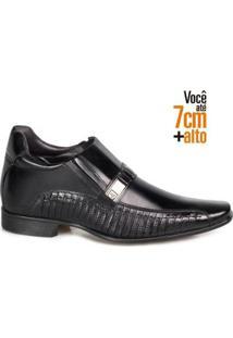 Sapato Social Couro Rafarillo Masculino Ajuste Elástico Leve - Masculino-Preto