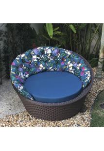 Chaise Caribe Com Encosto - Tecido Igapó Com Linium Azul - Decora Na Net