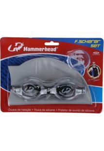 Kit De Natação Hammerhead F. Scherer Set Com Óculos, Touca E Protetor De Ouvido - Adulto - Cinza Claro