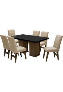 Conjunto De Mesa Para Sala De Jantar Com 6 Cadeiras Esparta-Dobue - Castanho / Preto / Bege