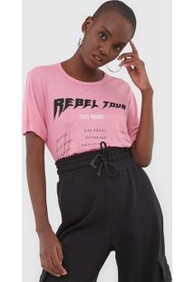 Camiseta Colcci Rebel Rosa - Rosa - Feminino - Viscose - Dafiti
