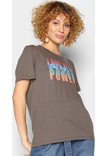 Camiseta Colcci Love Is A Super Power Feminina - Feminino-Cinza