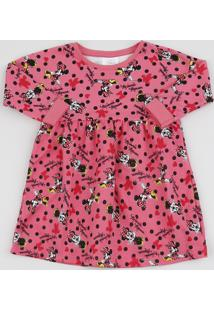 Vestido Infantil Minnie Manga Longa Pink