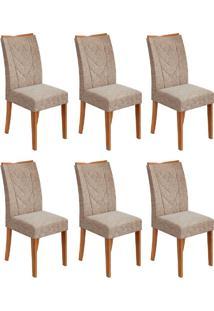 Conjunto Com 6 Cadeiras Atacama Ll Rovere E Bege