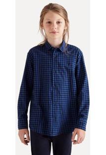 Camisa Pf Ml Vichy Medio Reserva Mini Infantil Masculina - Masculino-Azul