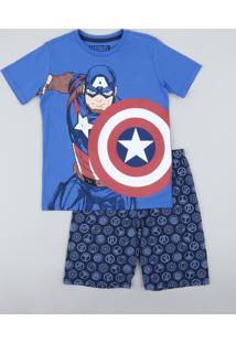 Pijama Infantil Capitão América Estampado Manga Curta Azul