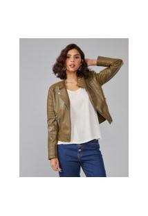 Amaro Feminino Jaqueta Leather Special, Verde Militar